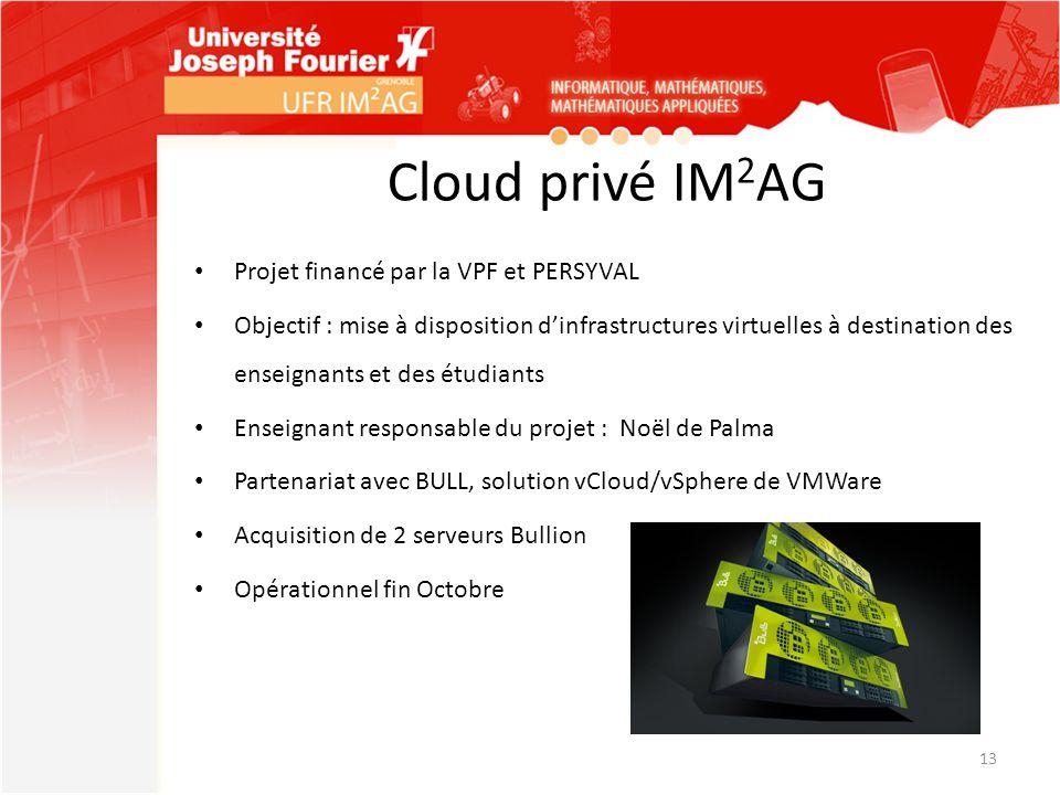 Cloud privé IM 2 AG Projet financé par la VPF et PERSYVAL Objectif : mise à disposition d'infrastructures virtuelles à destination des enseignants et