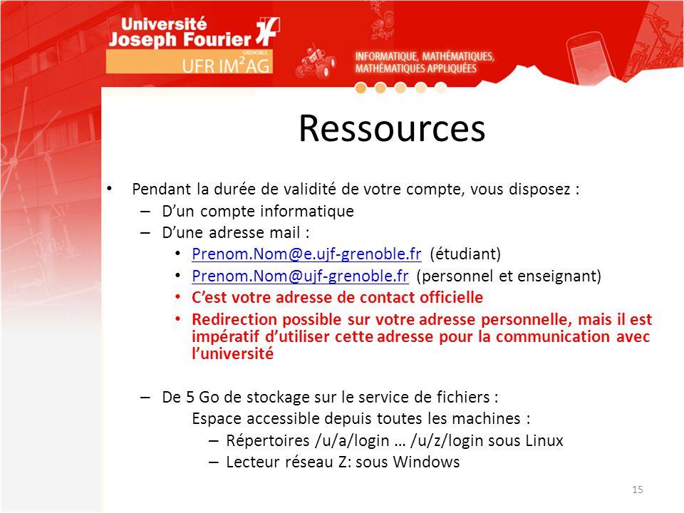 Ressources Pendant la durée de validité de votre compte, vous disposez : – D'un compte informatique – D'une adresse mail : Prenom.Nom@e.ujf-grenoble.f