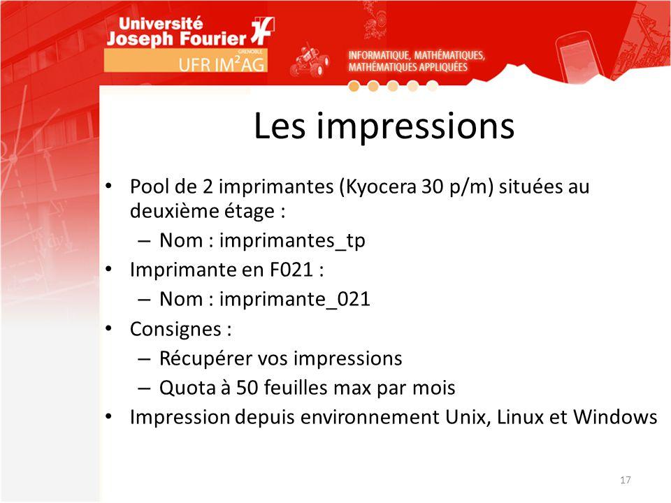 Les impressions Pool de 2 imprimantes (Kyocera 30 p/m) situées au deuxième étage : – Nom : imprimantes_tp Imprimante en F021 : – Nom : imprimante_021