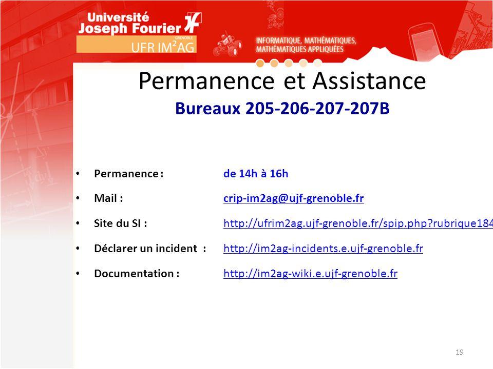 Permanence et Assistance Bureaux 205-206-207-207B Permanence :de 14h à 16h Mail :crip-im2ag@ujf-grenoble.frcrip-im2ag@ujf-grenoble.fr Site du SI : htt