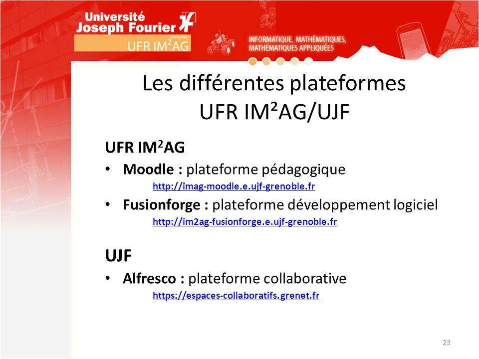 Les différentes plateformes UFR IM²AG/UJF UFR IM 2 AG Moodle : plateforme pédagogique http://imag-moodle.e.ujf-grenoble.fr Fusionforge : plateforme dé