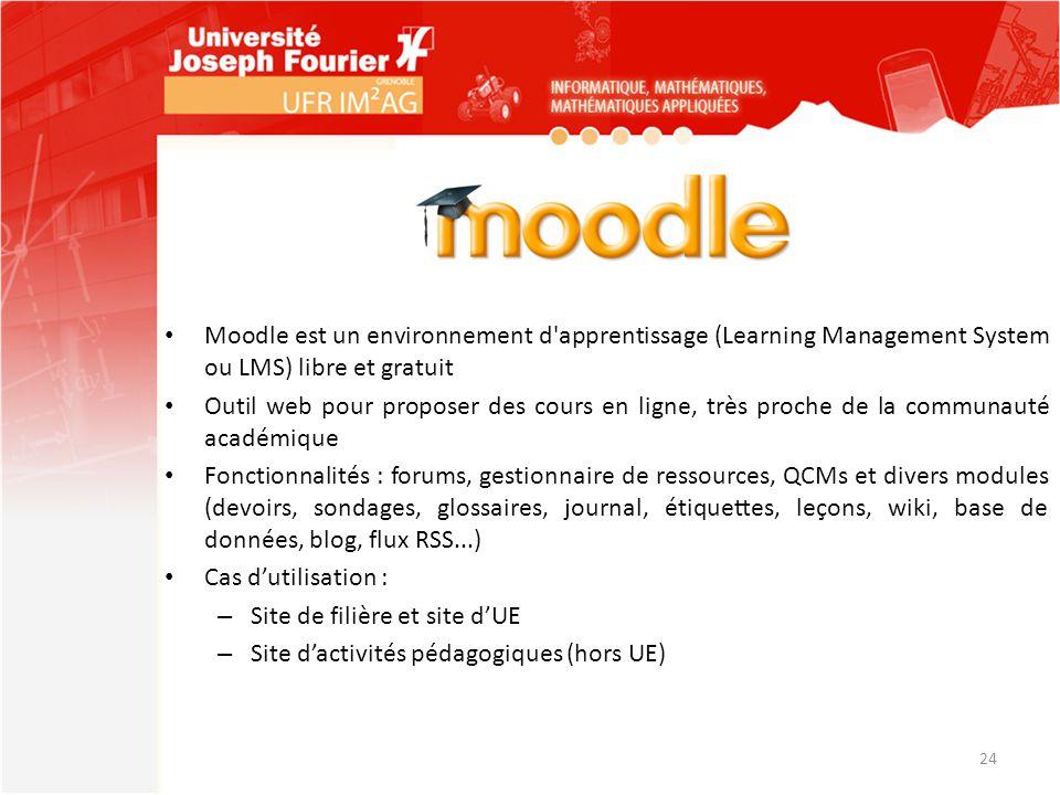 Moodle est un environnement d'apprentissage (Learning Management System ou LMS) libre et gratuit Outil web pour proposer des cours en ligne, très proc