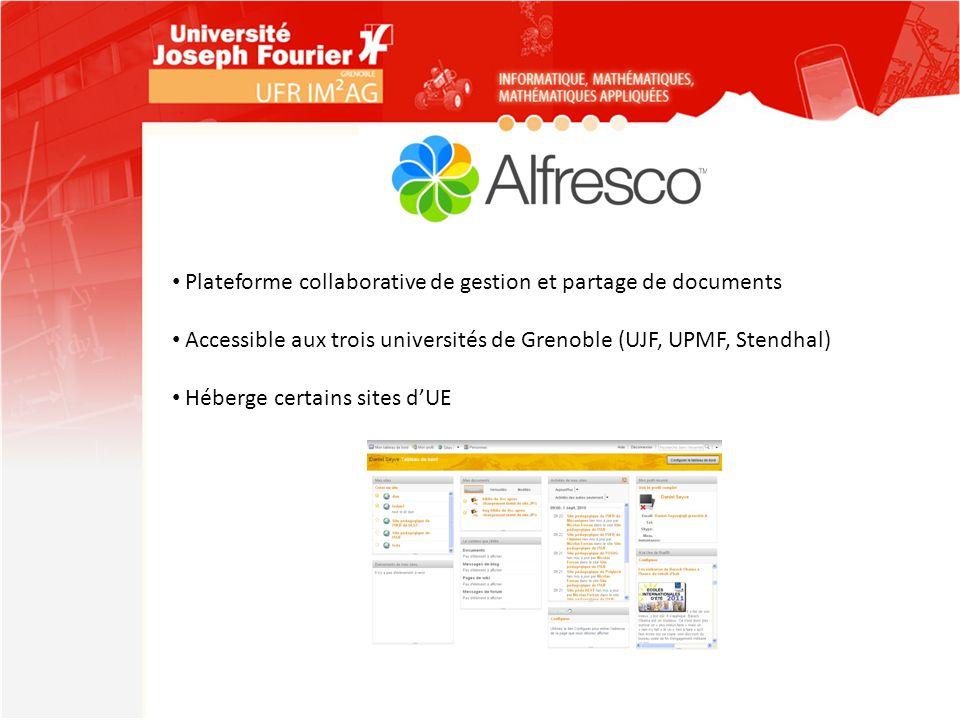 Plateforme collaborative de gestion et partage de documents Accessible aux trois universités de Grenoble (UJF, UPMF, Stendhal) Héberge certains sites
