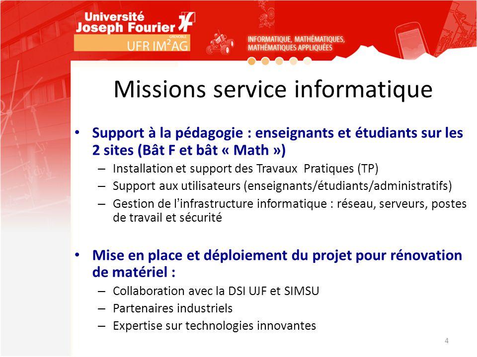 Missions service informatique Support à la pédagogie : enseignants et étudiants sur les 2 sites (Bât F et bât « Math ») – Installation et support des