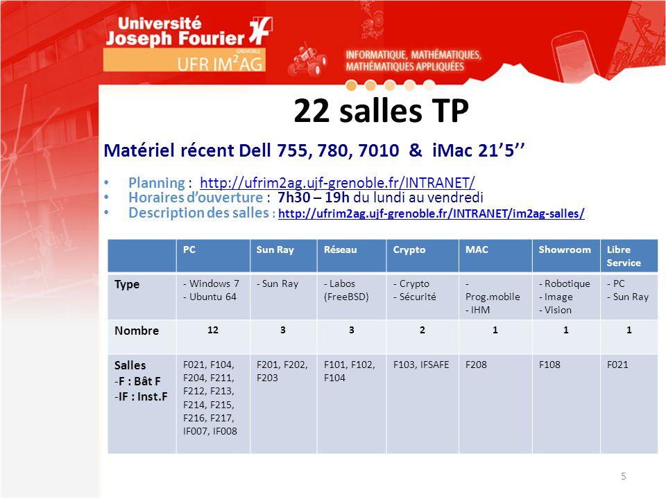 22 salles TP Matériel récent Dell 755, 780, 7010 & iMac 21'5'' Planning : http://ufrim2ag.ujf-grenoble.fr/INTRANET/http://ufrim2ag.ujf-grenoble.fr/INT
