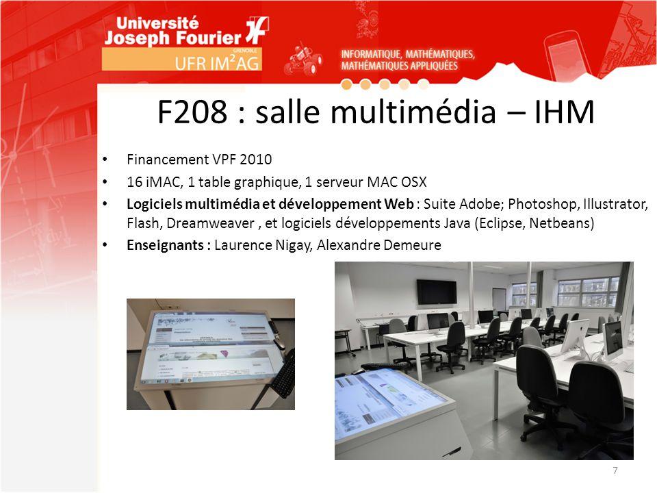 F208 : salle multimédia – IHM Financement VPF 2010 16 iMAC, 1 table graphique, 1 serveur MAC OSX Logiciels multimédia et développement Web : Suite Ado
