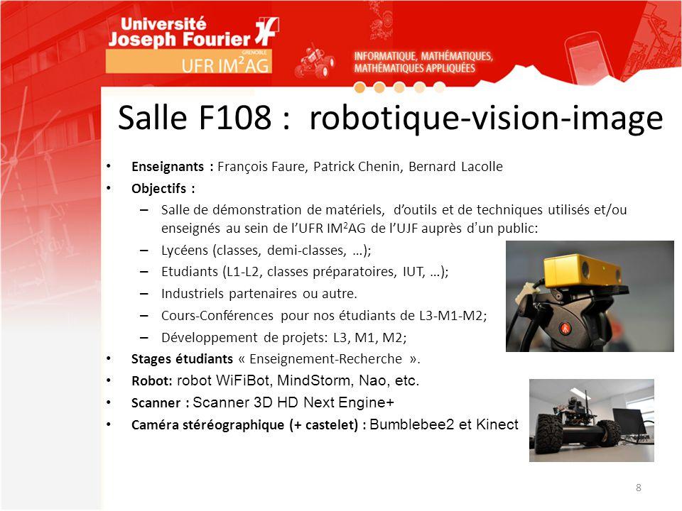 Salle F108 : robotique-vision-image Enseignants : François Faure, Patrick Chenin, Bernard Lacolle Objectifs : – Salle de démonstration de matériels, d
