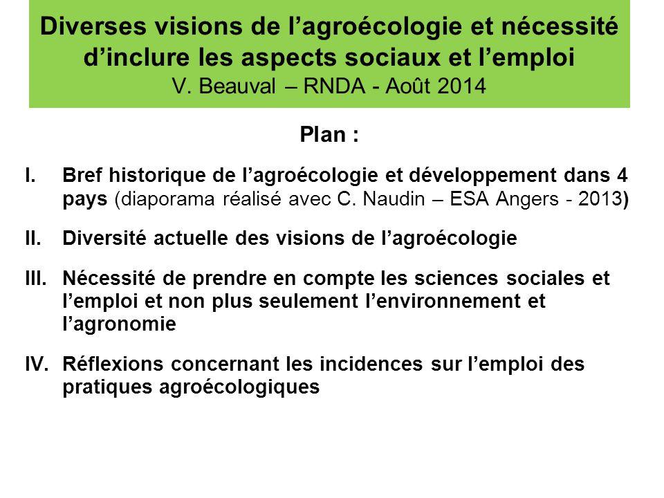 Diverses visions de l'agroécologie et nécessité d'inclure les aspects sociaux et l'emploi V. Beauval – RNDA - Août 2014 Plan : I.Bref historique de l'