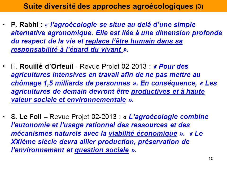 Suite diversité des approches agroécologiques (3) P. Rabhi : « l'agroécologie se situe au delà d'une simple alternative agronomique. Elle est liée à u