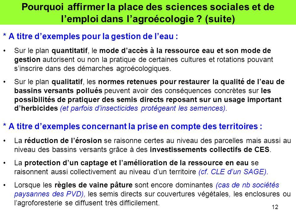 Pourquoi affirmer la place des sciences sociales et de l'emploi dans l'agroécologie ? (suite) * A titre d'exemples pour la gestion de l'eau : Sur le p
