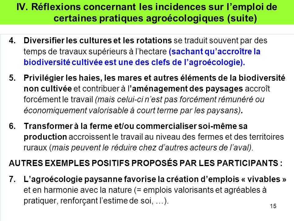 IV. Réflexions concernant les incidences sur l'emploi de certaines pratiques agroécologiques (suite) 4.Diversifier les cultures et les rotations se tr