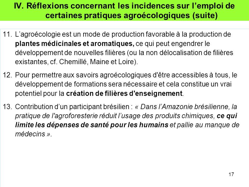 IV. Réflexions concernant les incidences sur l'emploi de certaines pratiques agroécologiques (suite) 11.L'agroécologie est un mode de production favor