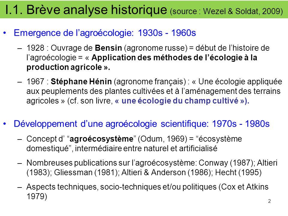 I.1. Brève analyse historique (source : Wezel & Soldat, 2009) Emergence de l'agroécologie: 1930s - 1960 s –1928 : Ouvrage de Bensin (agronome russe) =