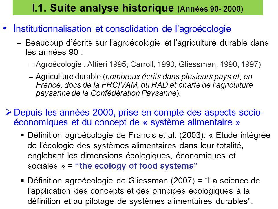 3 I.1. Suite analyse historique (Années 90- 2000) I nstitutionnalisation et consolidation de l'agroécologie –Beaucoup d'écrits sur l'agroécologie et l