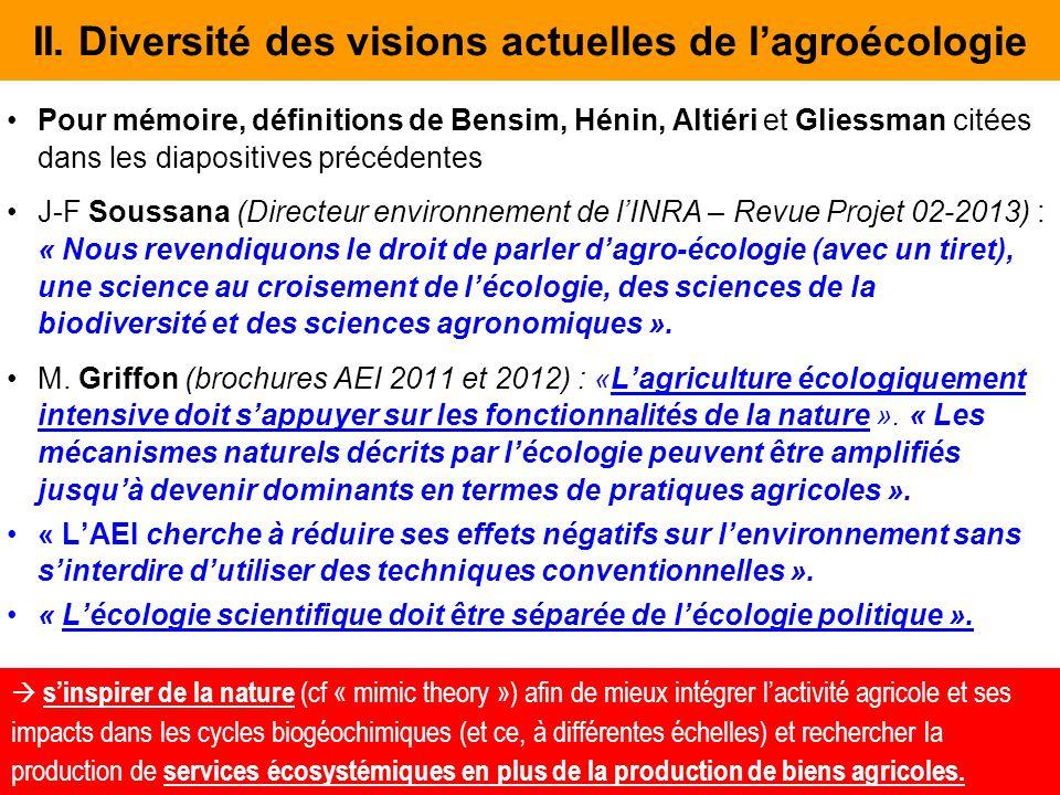 II. Diversité des visions actuelles de l'agroécologie Pour mémoire, définitions de Bensim, Hénin, Altiéri et Gliessman citées dans les diapositives pr