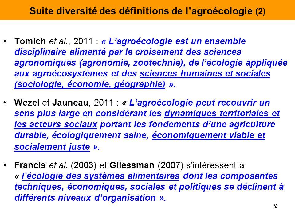 Suite diversité des définitions de l'agroécologie (2) Tomich et al., 2011 : « L'agroécologie est un ensemble disciplinaire alimenté par le croisement