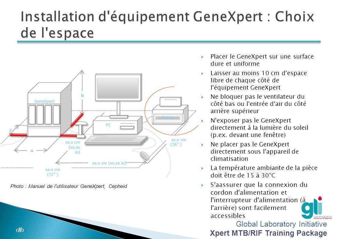 Global Laboratory Initiative Xpert MTB/RIF Training Package -‹#›-  Déballer le système et s'assurer que tous les éléments sont compris  Conserver l'