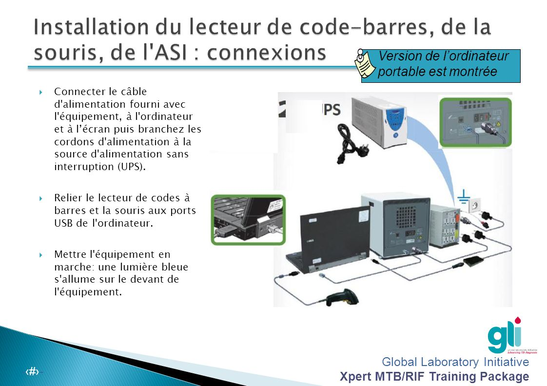 Global Laboratory Initiative Xpert MTB/RIF Training Package -‹#›-  Connecter le câble d alimentation fourni avec l équipement, à l ordinateur et à l'écran puis branchez les cordons d alimentation à la source d alimentation sans interruption (UPS).