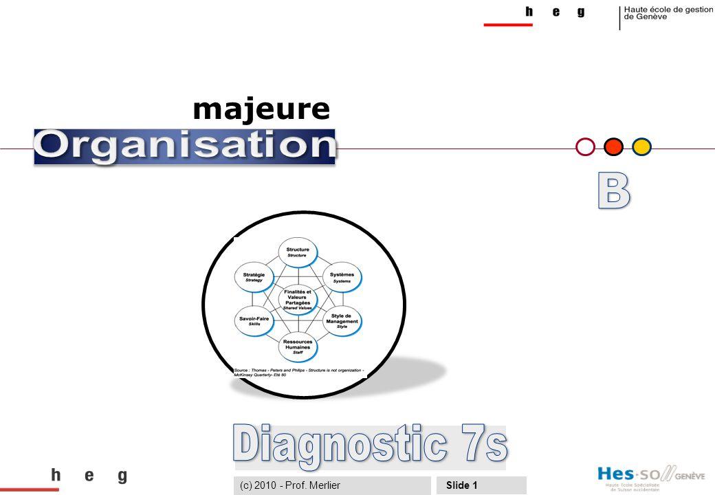 DiagnosticMéthode 7SUtilisationLeviers 7STransformation Cas pratique Slide no 12 Proposer des voies de progrès (4) 1# Identifier les grands processus transverses associés aux finalités de l'organisation et clarifier les contributions des finalités avec les responsables de lignes + colonnes (de la matrice) 2# Développer des aptitudes au dialogue, aux échanges et à la négociation pour mettre plus de fluidité dans l'organisation 3# Clarifier les responsabilités au sein de la matrice 4#Mettre en place des tableaux de bord partagés pour donner plus de visibilité sur les ressources engagées, favoriser le dialogue et permettre l'arbitrage 5# Mieux distinguer le « long terme » du « court terme » afin de faciliter la priorisation des actions Quelques recommandations (c) 2010 - Prof.