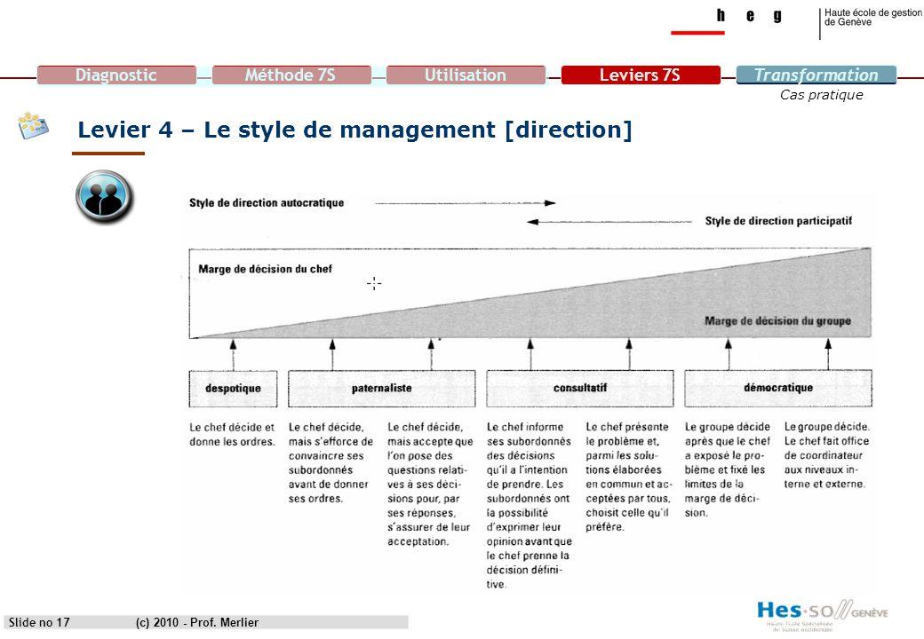 DiagnosticMéthode 7SUtilisationLeviers 7STransformation Cas pratique Levier 4 – Le style de management [direction] Slide no 17(c) 2010 - Prof. Merlier