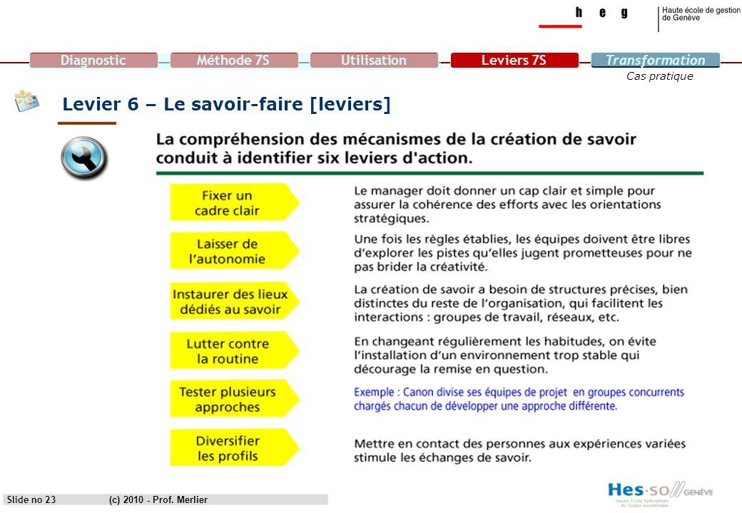 DiagnosticMéthode 7SUtilisationLeviers 7STransformation Cas pratique Levier 6 – Le savoir-faire [leviers] Slide no 23(c) 2010 - Prof. Merlier