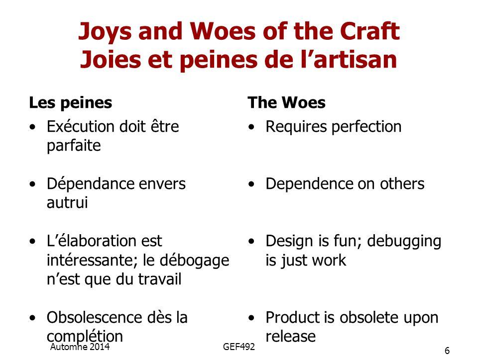 Joys and Woes of the Craft Joies et peines de l'artisan Les peines Exécution doit être parfaite Dépendance envers autrui L'élaboration est intéressante; le débogage n'est que du travail Obsolescence dès la complétion The Woes Requires perfection Dependence on others Design is fun; debugging is just work Product is obsolete upon release 6 Automne 2014GEF492