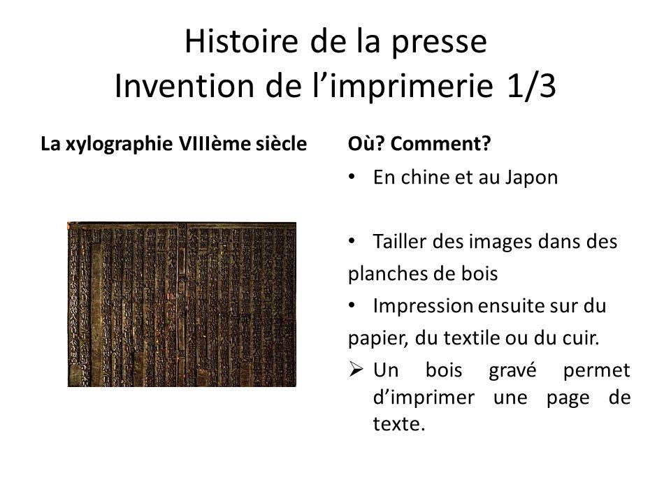 Histoire de la presse Invention de l'imprimerie 1/3 La xylographie VIIIème siècleOù? Comment? En chine et au Japon Tailler des images dans des planche