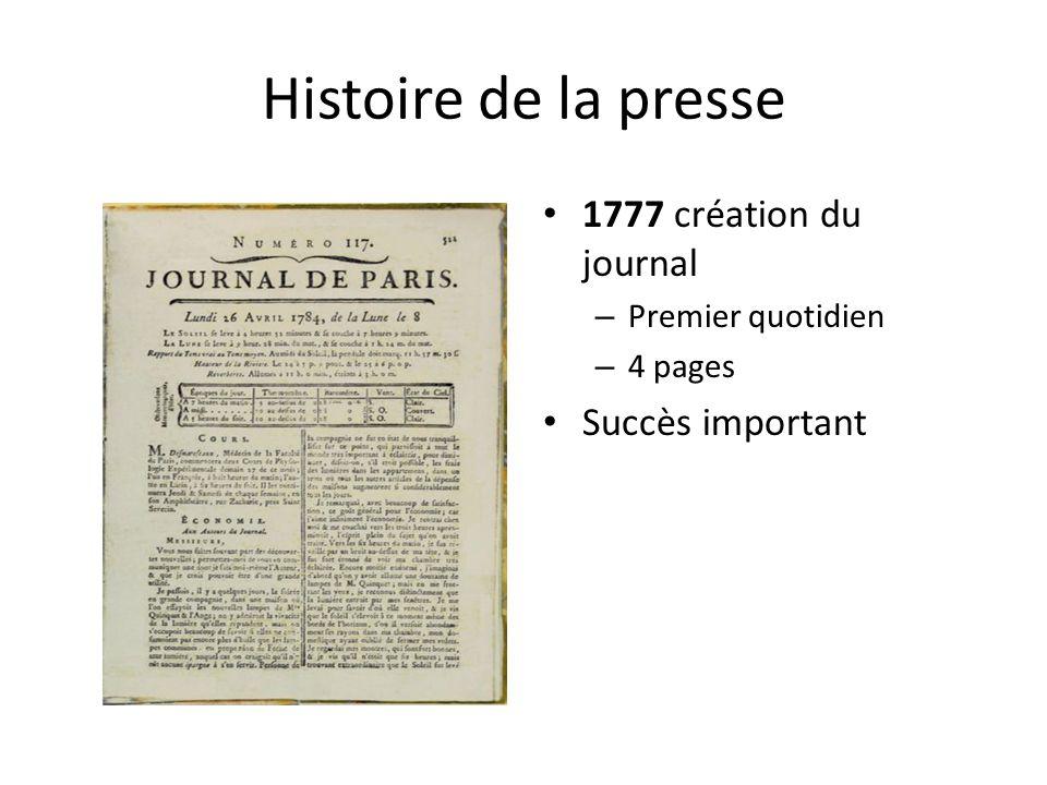 Histoire de la presse 1777 création du journal – Premier quotidien – 4 pages Succès important