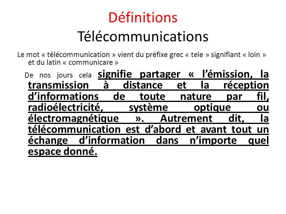 Définitions Télécommunications Le mot « télécommunication » vient du préfixe grec « tele » signifiant « loin » et du latin « communicare » De nos jour