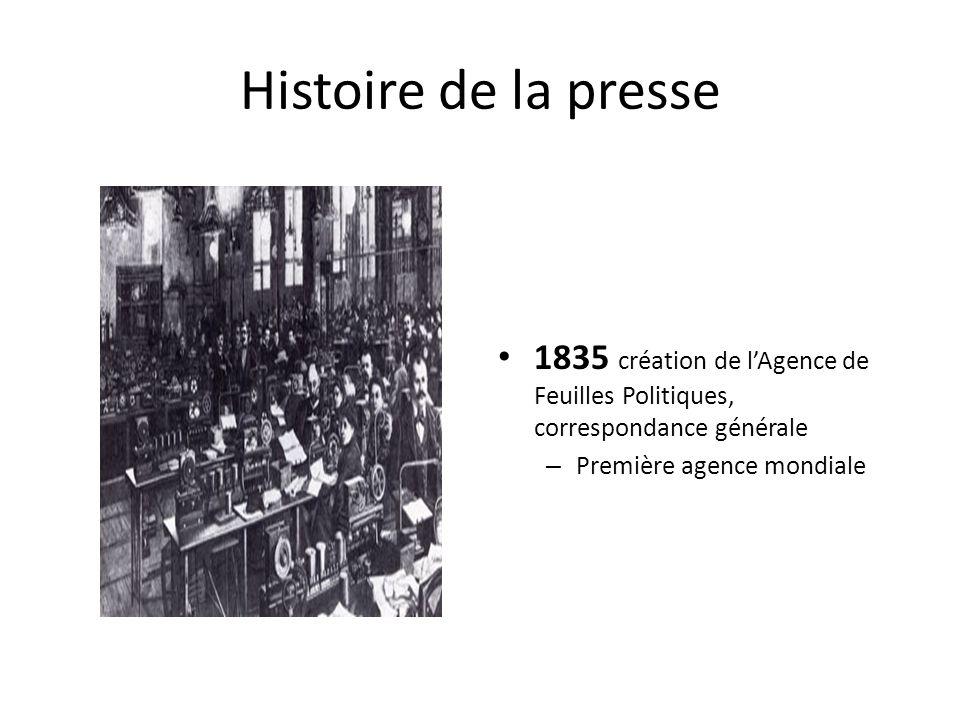 Histoire de la presse 1835 création de l'Agence de Feuilles Politiques, correspondance générale – Première agence mondiale