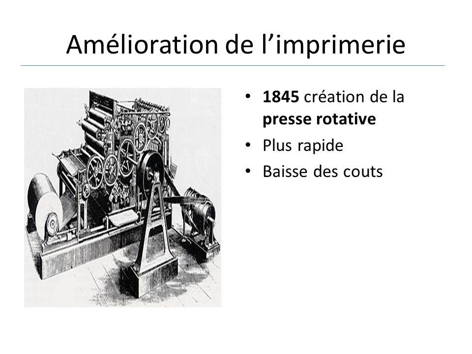 Amélioration de l'imprimerie 1845 création de la presse rotative Plus rapide Baisse des couts