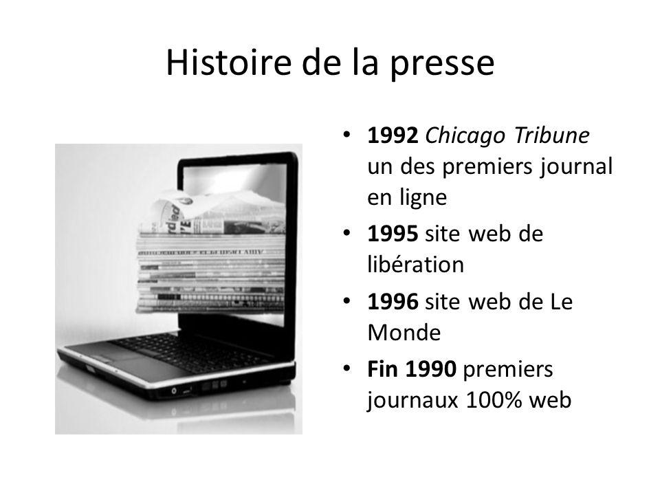 Histoire de la presse 1992 Chicago Tribune un des premiers journal en ligne 1995 site web de libération 1996 site web de Le Monde Fin 1990 premiers jo