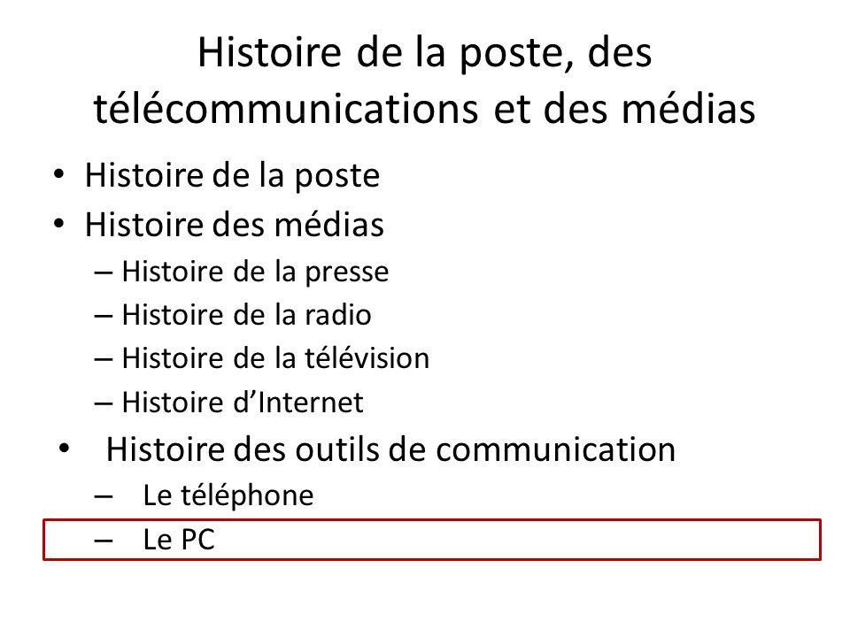 Histoire de la poste, des télécommunications et des médias Histoire de la poste Histoire des médias – Histoire de la presse – Histoire de la radio – H