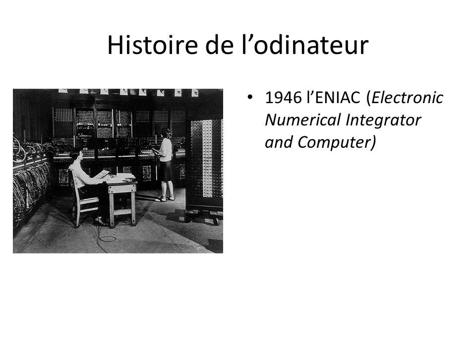 Histoire de l'odinateur 1946 l'ENIAC (Electronic Numerical Integrator and Computer)