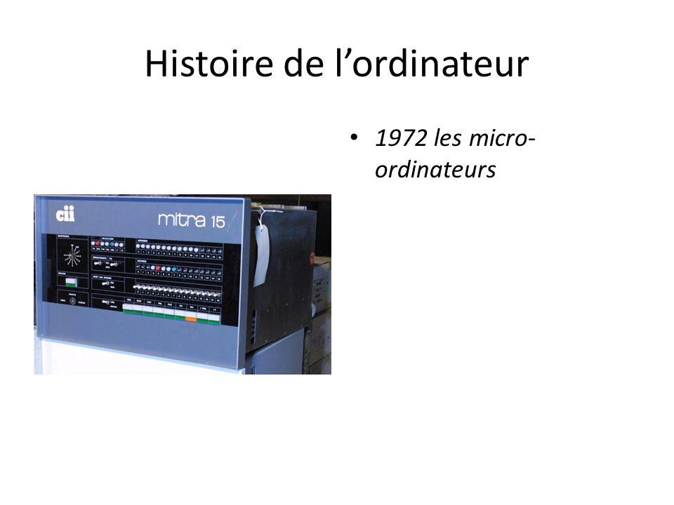 Histoire de l'ordinateur 1972 les micro- ordinateurs