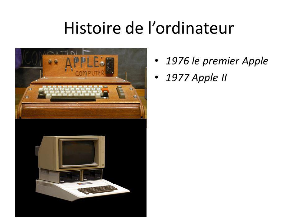 Histoire de l'ordinateur 1976 le premier Apple 1977 Apple II