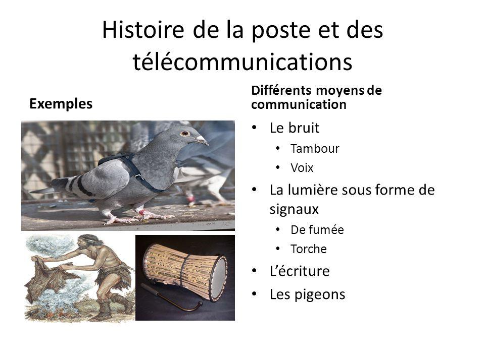 Histoire de la poste et des télécommunications Exemples Le bruit Tambour Voix La lumière sous forme de signaux De fumée Torche L'écriture Les pigeons