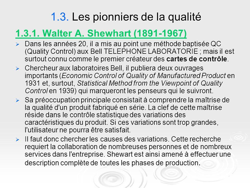 Les pionniers de la qualité 1.3. Les pionniers de la qualité 1.3.1. Walter A. Shewhart (1891-1967)  Dans les années 20, il a mis au point une méthode