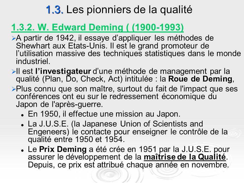 1.3. Les pionniers de la qualité 1.3.2. W. Edward Deming ( (1900-1993)  A partir de 1942, il essaye d'appliquer les méthodes de Shewhart aux Etats-Un