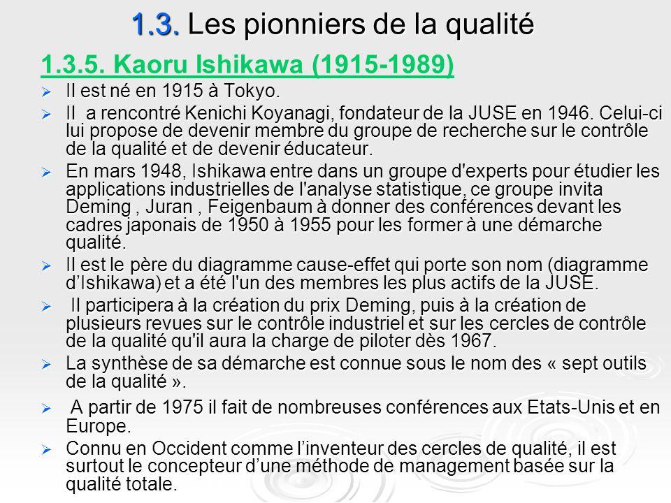 1.3. Les pionniers de la qualité 1.3.5. Kaoru Ishikawa (1915-1989)  Il est né en 1915 à Tokyo.  Il a rencontré Kenichi Koyanagi, fondateur de la JUS