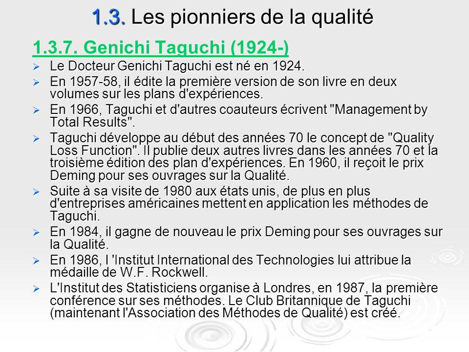 1.3. Les pionniers de la qualité 1.3.7. Genichi Taguchi (1924-)  Le Docteur Genichi Taguchi est né en 1924.  En 1957-58, il édite la première versio