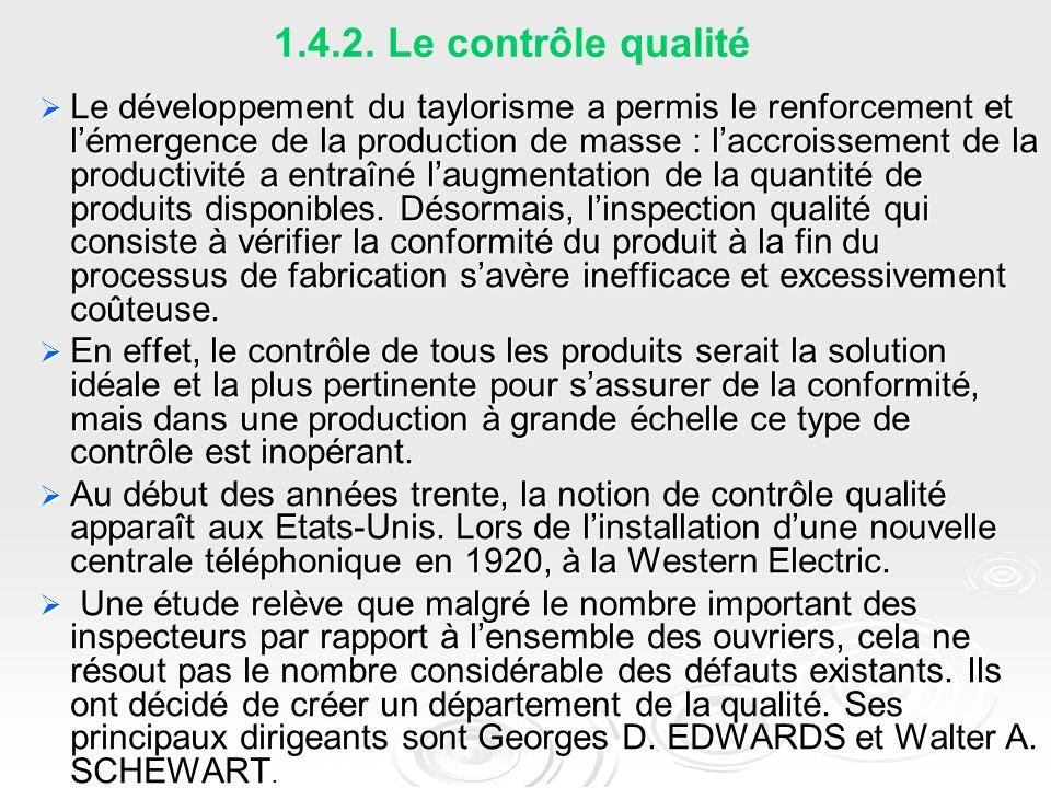 1.4.2. Le contrôle qualité  Le développement du taylorisme a permis le renforcement et l'émergence de la production de masse : l'accroissement de la