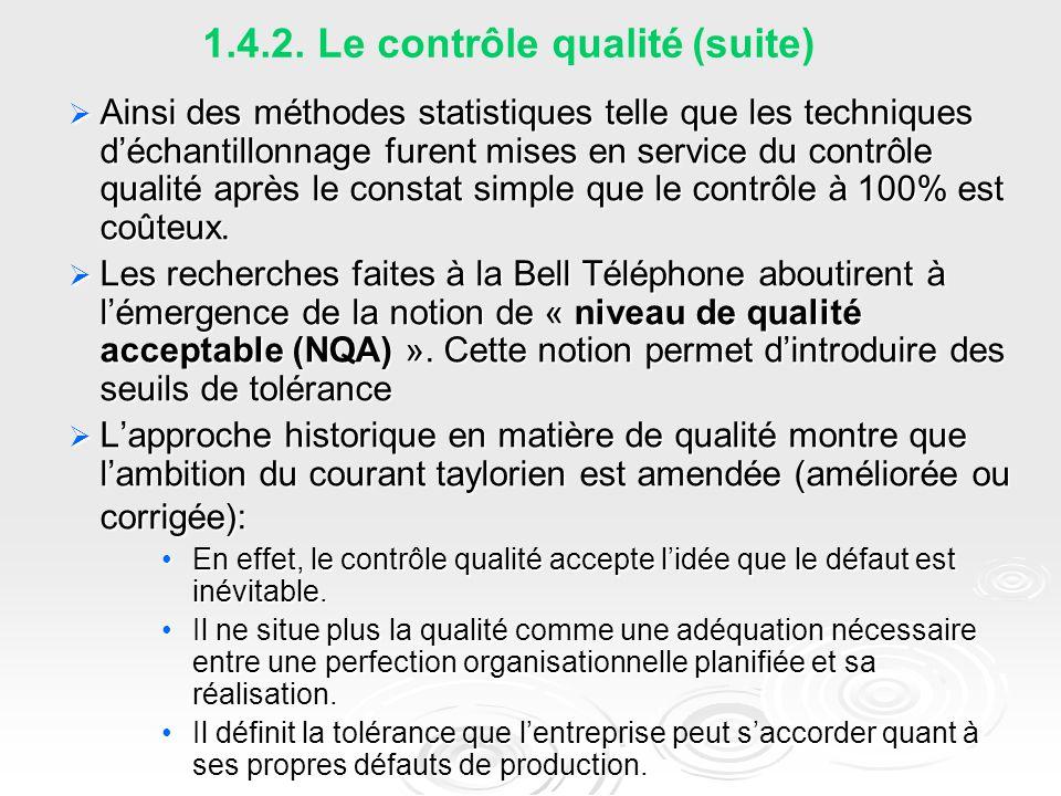 1.4.2. Le contrôle qualité (suite)  Ainsi des méthodes statistiques telle que les techniques d'échantillonnage furent mises en service du contrôle qu