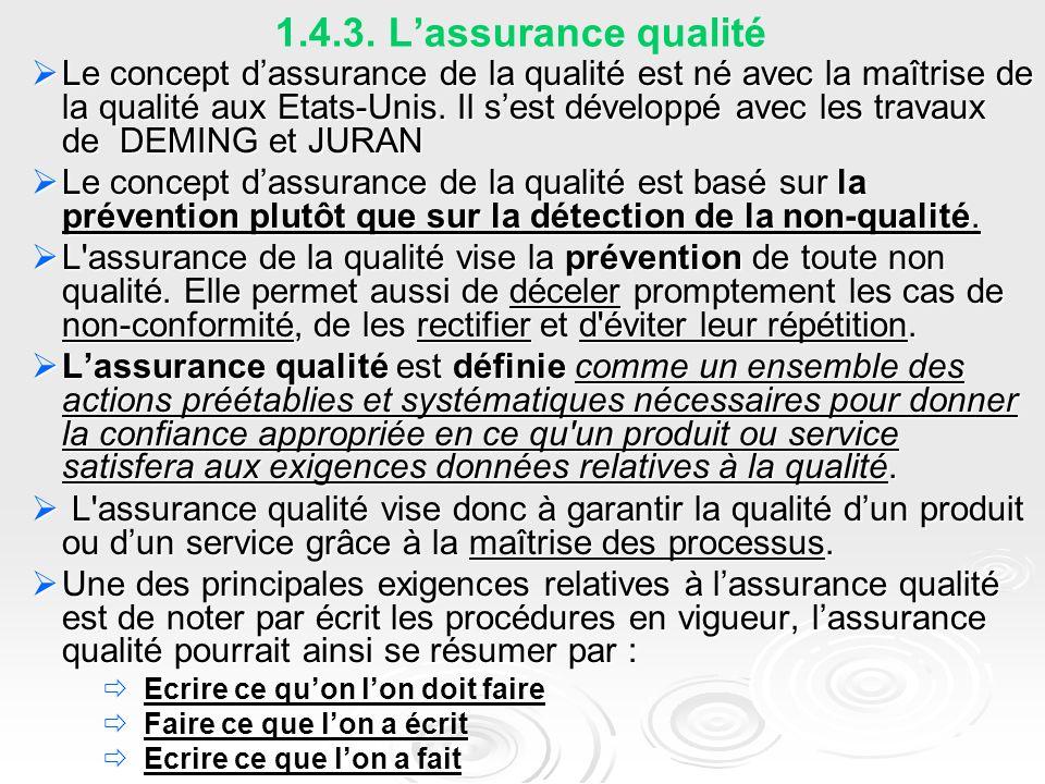 1.4.3. L'assurance qualité  Le concept d'assurance de la qualité est né avec la maîtrise de la qualité aux Etats-Unis. Il s'est développé avec les tr