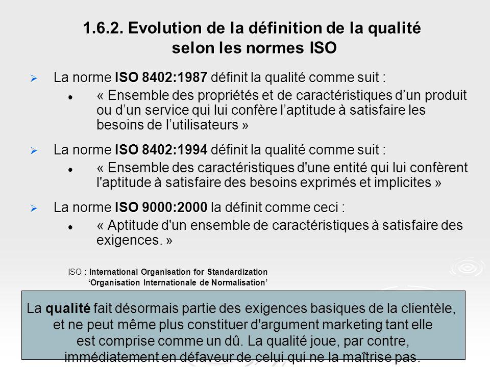 1.6.2. Evolution de la définition de la qualité selon les normes ISO  La norme ISO 8402:1987 définit la qualité comme suit : « Ensemble des propriété