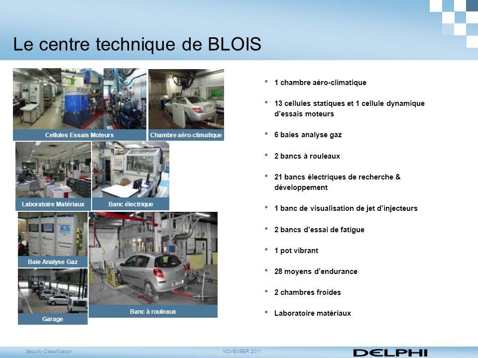 Security ClassificationNOVEMBER 2011 Le centre technique de BLOIS 1 chambre aéro-climatique 13 cellules statiques et 1 cellule dynamique d'essais mote