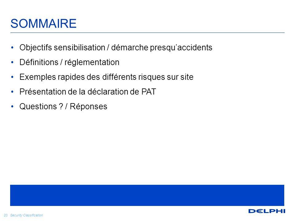 Security Classification SOMMAIRE 20 Objectifs sensibilisation / démarche presqu'accidents Définitions / réglementation Exemples rapides des différents