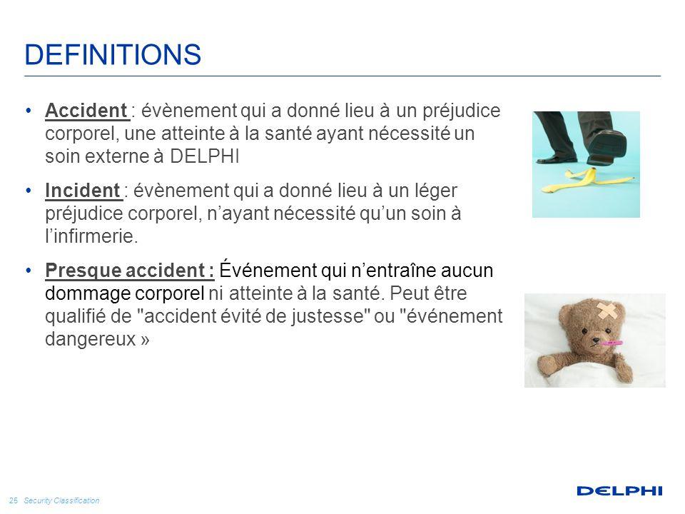 Security Classification 25 DEFINITIONS Accident : évènement qui a donné lieu à un préjudice corporel, une atteinte à la santé ayant nécessité un soin