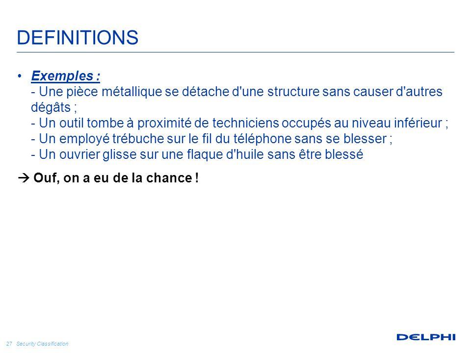 Security Classification 27 Exemples : - Une pièce métallique se détache d'une structure sans causer d'autres dégâts ; - Un outil tombe à proximité de