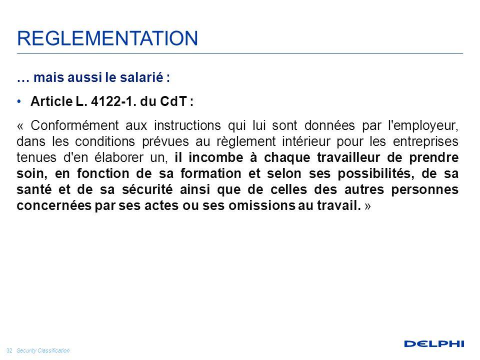 Security Classification 32 … mais aussi le salarié : Article L. 4122-1. du CdT : « Conformément aux instructions qui lui sont données par l'employeur,